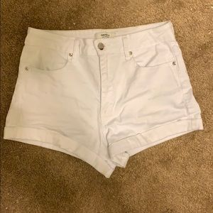 Stretchy White jean shorts from forever 21